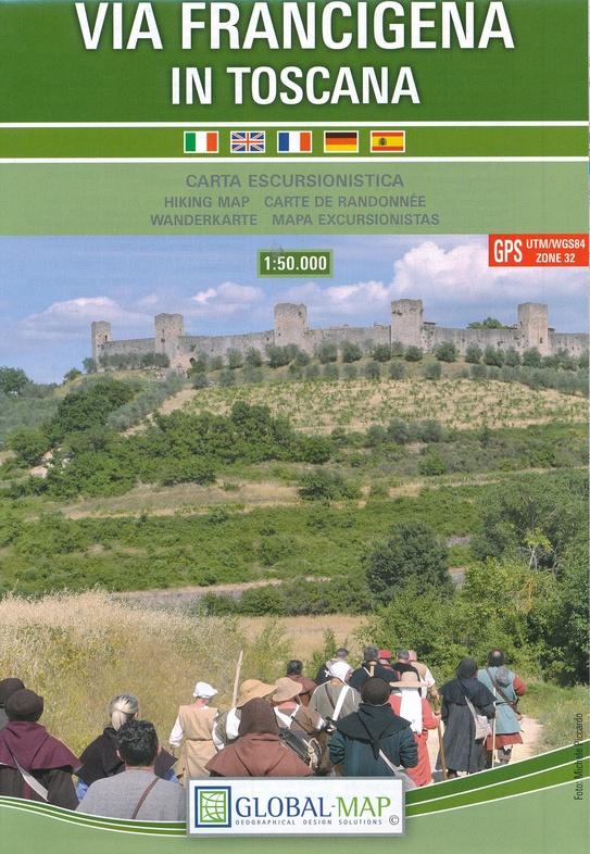 Via Francigena in Toscana | wandelkaart 1:50.000 9788833033020  Global Map   Lopen naar Rome, Wandelkaarten Toscane, Florence