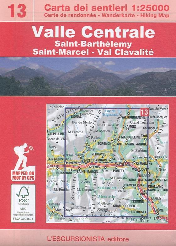 ESC-13  Saint-Barthélemy, Valle Centrale | wandelkaart 1:25.000 9788898520343  Escursionista Carta dei Sentieri 1:25.000  Wandelkaarten Aosta, Gran Paradiso