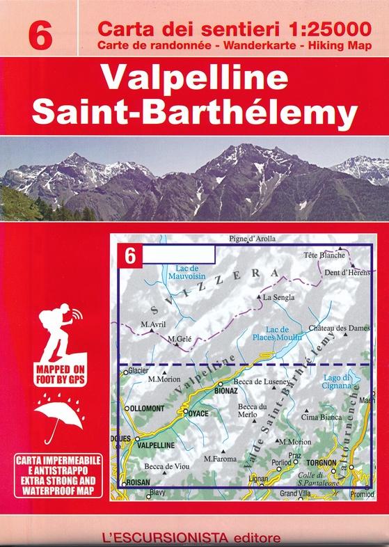 ESC-06  Valpelline, Saint-Barthélemy | wandelkaart 1:25.000 9788898520800  Escursionista Carta dei Sentieri 1:25.000  Wandelkaarten Aosta, Gran Paradiso