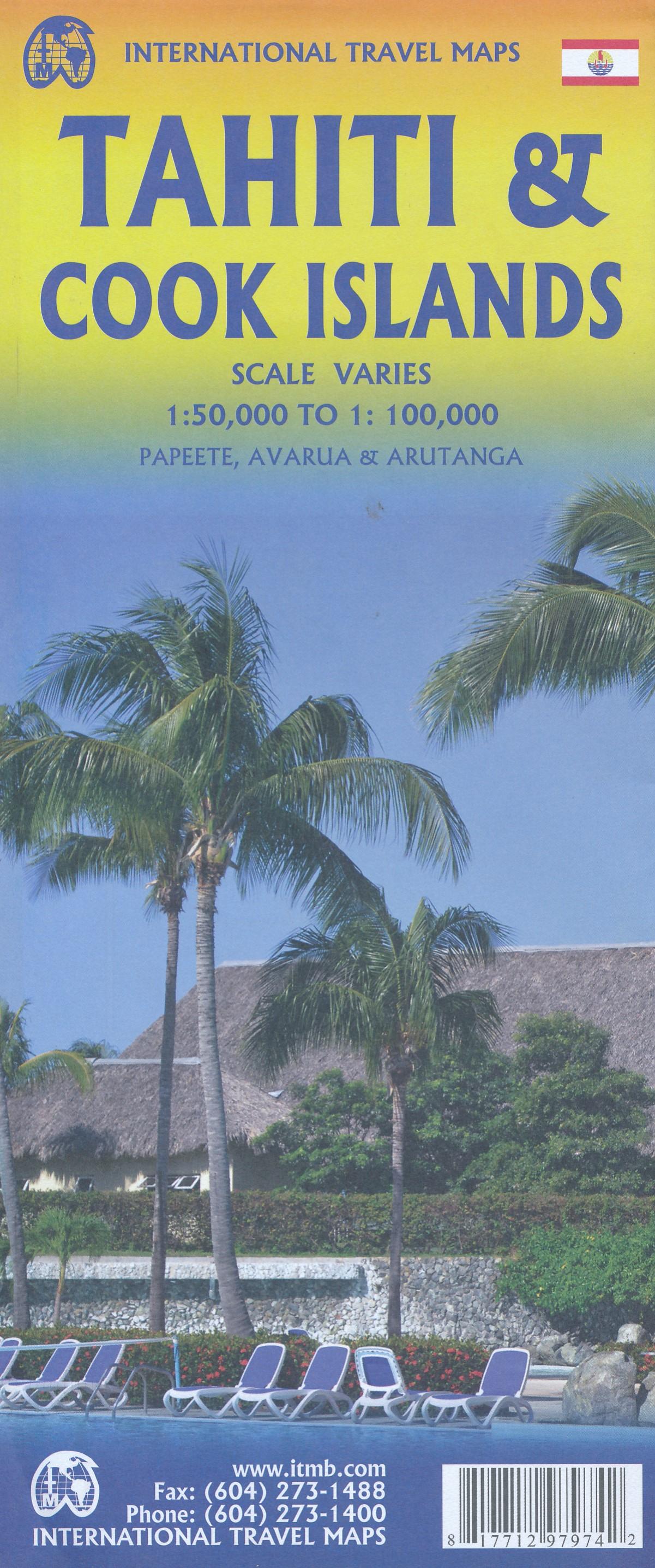 Tahiti & the Cook Islands | landkaart, autokaart 1:100.000 9781771297974  ITM   Landkaarten en wegenkaarten Pacifische Oceaan (Pacific)