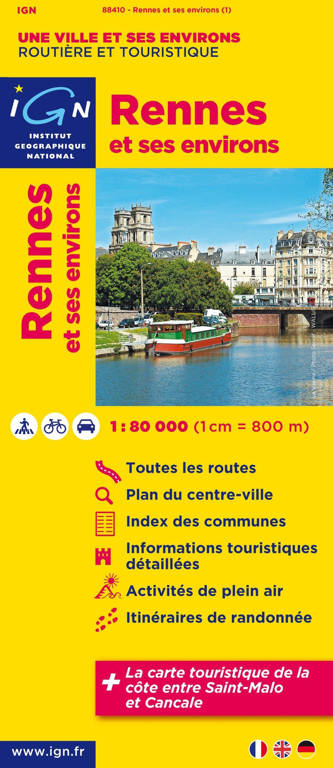 Rennes & omgeving 9782758524021  IGN   Stadsplattegronden Bretagne