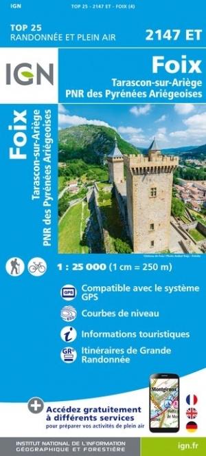 2147ET   Foix, Tarascon-sur-Ariège | wandelkaart 1:25.000 9782758545286  IGN IGN 25 Franse Pyreneeën  Wandelkaarten Franse Pyreneeën