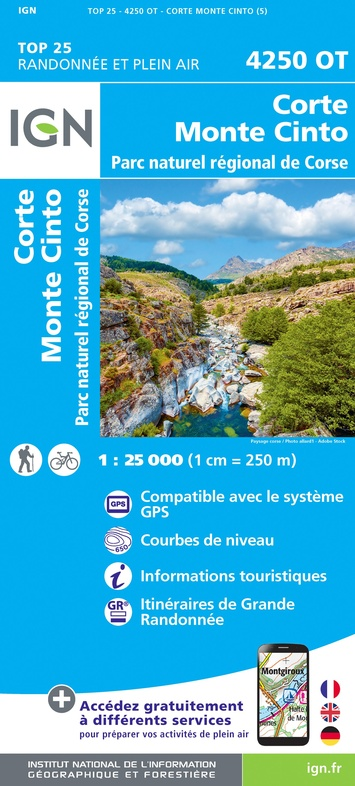 4250OT: Corte, Monte Cinto | wandelkaart 1:25.000 9782758546818  IGN TOP 25  Wandelkaarten Corsica