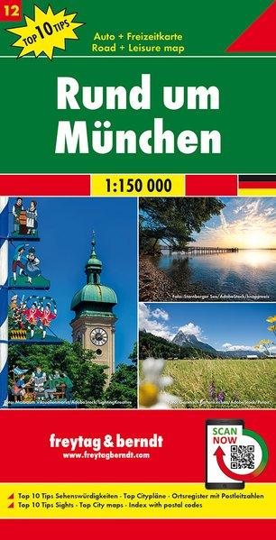 Rund um München | omgevingskaart München 1:150.000 9783707918120  Freytag & Berndt F&B deelkaarten Duitsland  Landkaarten en wegenkaarten