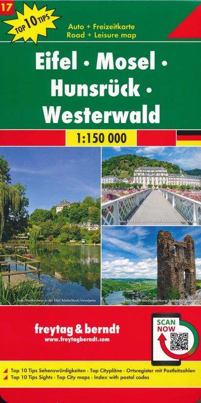 Overzichtskaart Eifel - Hunsrück - Westerwald 1:150.000 9783707918212  Freytag & Berndt F&B deelkaarten Duitsland  Landkaarten en wegenkaarten Rheinland-Pfalz