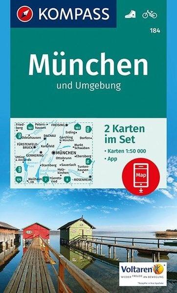 KP-184  München u. Umg. | Kompass wandelkaart 9783990442586  Kompass Wandelkaarten Kompass Duitsland  Wandelkaarten München en omgeving
