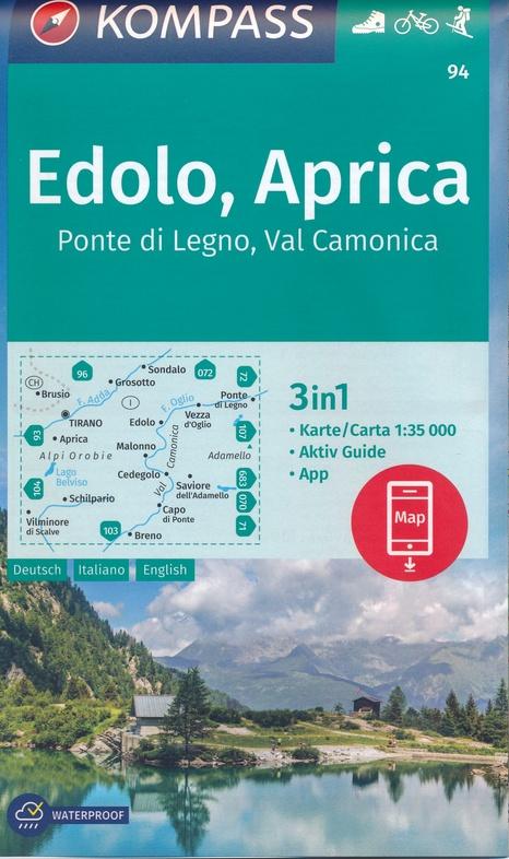 KP-94 Edolo, Aprica | Kompass wandelkaart 1:35.000 9783990447093  Kompass Wandelkaarten Kompass Italië  Wandelkaarten Zuid-Tirol, Dolomieten