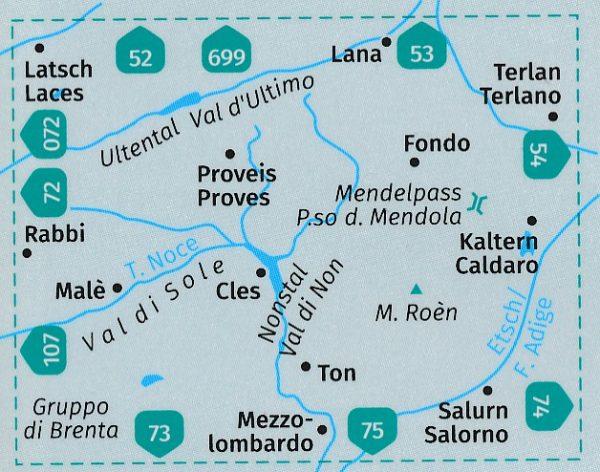KP-95 Valle di Non / Nonstal 1:50.000   Kompass wandelkaart 9783990447109  Kompass Wandelkaarten Kompass Italië  Wandelkaarten Zuid-Tirol, Dolomieten