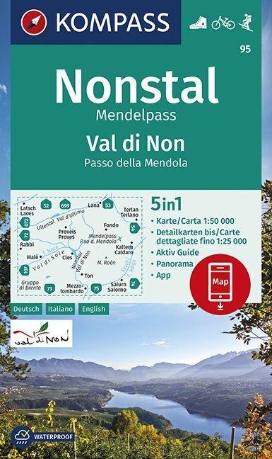 KP-95 Valle di Non / Nonstal 1:50.000 | Kompass wandelkaart 9783990447109  Kompass Wandelkaarten Kompass Italië  Wandelkaarten Zuid-Tirol, Dolomieten