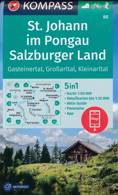 KP-80 St.Johann, Salzburgerland   Kompass 9783990447123  Kompass Wandelkaarten Kompass Oostenrijk  Wandelkaarten Salzburg, Karinthië, Tauern, Stiermarken