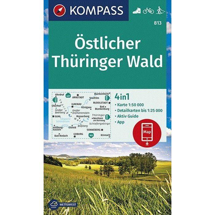 KP-813 Östlicher Thüringer Wald | Kompass wandelkaart 1:50.000 9783990447147  Kompass Wandelkaarten Kompass Duitsland  Wandelkaarten Thüringen, Weimar, Rennsteig