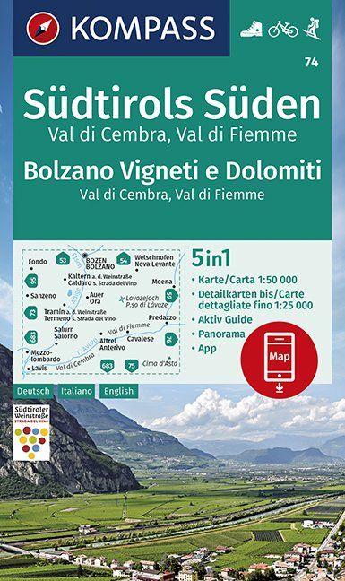 KP-74 Südtirols Süden, Bolzano, Vigneti e Dolomiti 1:50.000 | Kompass wandelkaart 9783990447154  Kompass Wandelkaarten Kompass Italië  Wandelkaarten Zuid-Tirol, Dolomieten