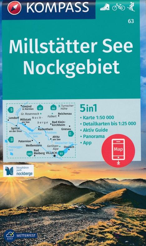 KP-63 Millstätter See - Nockgebiet   Kompass wandelkaart 9783990447185  Kompass Wandelkaarten Kompass Oostenrijk  Wandelkaarten Salzburg, Karinthië, Tauern, Stiermarken