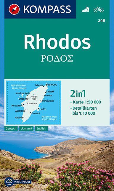 KP-248  wandelkaart / wegenkaart Rhodos 1:50.000 | Kompass wandelkaart 9783990447192  Kompass Wandelkaarten   Wandelkaarten Egeïsche Eilanden