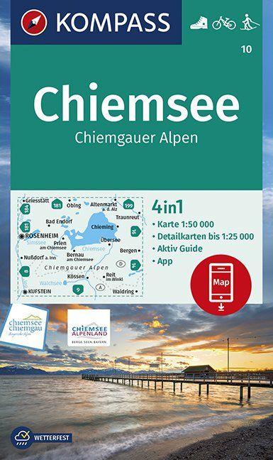 KP-10 Chiemsee, Chiemgauer Alpen | Kompass wandelkaart 9783990447215  Kompass Wandelkaarten Kompass Duitsland  Wandelkaarten Beierse Alpen