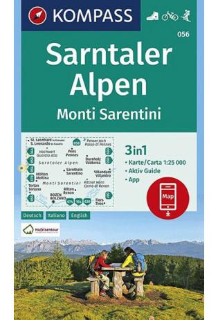 KP-056 Sarntaler Alpen | Kompass wandelkaart 1:25.000 9783990447253  Kompass Wandelkaarten Kompass Italië  Wandelkaarten Zuid-Tirol, Dolomieten