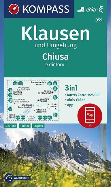 KP-059  Klausen (Chiusa) und Umg. 1:25.000 | Kompass wandelkaart 9783990447260  Kompass Wandelkaarten Kompass Italië  Wandelkaarten Zuid-Tirol, Dolomieten