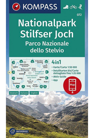 KP-072 Stelvio en Ortler | Kompass wandelkaart 1:50.000 9783990447277  Kompass Wandelkaarten Kompass Italië  Wandelkaarten Zuid-Tirol, Dolomieten