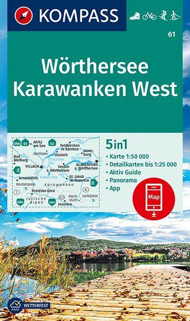 wandelkaart KP-61 Wörther-, Faaker-, Ossiacher See   Kompass 9783990447284  Kompass Wandelkaarten Kompass Oostenrijk  Wandelkaarten Karinthië