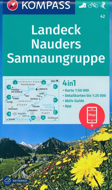 KP-42 Landeck-Nauders-Samnaungruppe   Kompass wandelkaart 9783990447338  Kompass Wandelkaarten Kompass Oostenrijk  Wandelkaarten Tirol & Vorarlberg