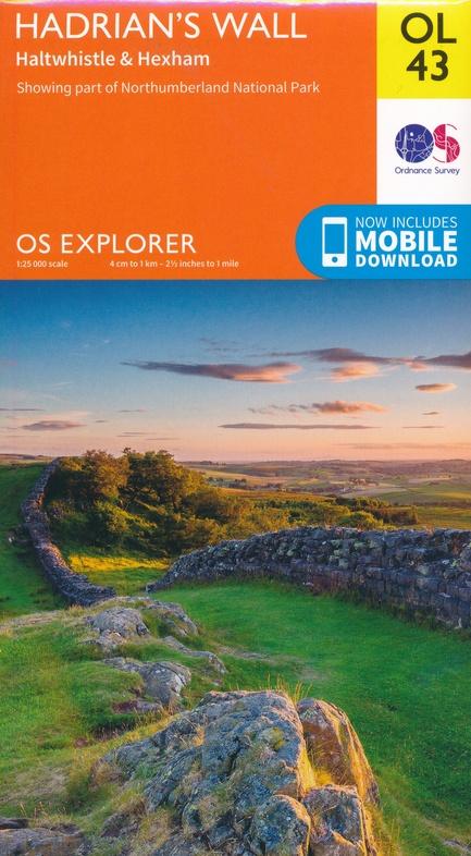 EXP-043  Hadrians Wall | wandelkaart 1:25.000 9780319263624  Ordnance Survey Explorer Maps 1:25t.  Wandelkaarten Northumberland, Yorkshire Dales & Moors, Peak District, Isle of Man