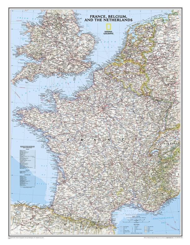 Frankrijk & de Benelux plano kaart 9780792249658  National Geographic NG planokaarten  Wandkaarten Frankrijk