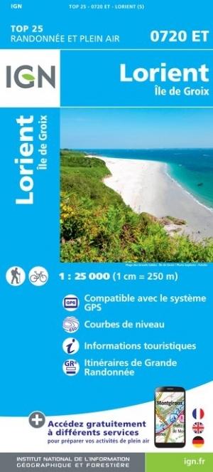 0720ET  omgeving Lorient, Île de Groix | wandelkaart 1:25.000 9782758539315  IGN IGN 25 Bretagne  Wandelkaarten Bretagne