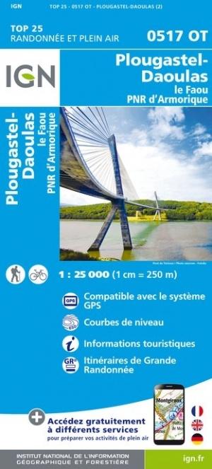 0517OT Plougastel, Le Faou | wandelkaart 1:25.000 9782758542537  IGN IGN 25 Bretagne  Wandelkaarten Bretagne
