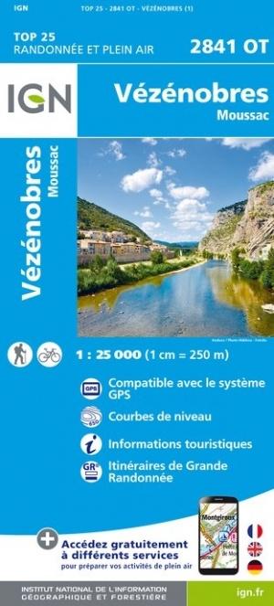 2841OT  Vézénobres, Moussac, Anduze | wandelkaart 1:25.000 9782758545477  IGN TOP 25  Wandelkaarten Cevennen, Languedoc