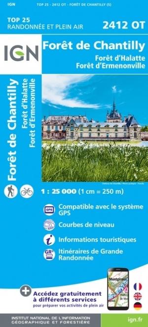2412OT  Senlis, Chantilly | wandelkaart 1:25.000 9782758546450  IGN IGN 25 Picardië & Nord  Wandelkaarten Parijs, Île-de-France, Picardie, Nord