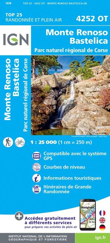 4252OT: Monte Renoso, Bastelica | wandelkaart 1:25.000 9782758546832  IGN TOP 25  Wandelkaarten Corsica