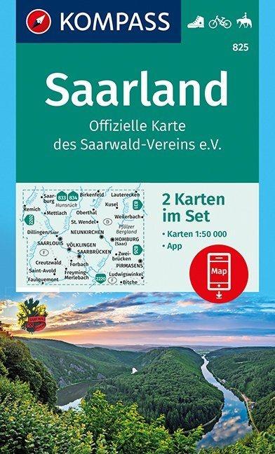 KP-825 Saarland | Kompass 9783990443736  Kompass Wandelkaarten Kompass Duitsland  Lopen naar Rome, Wandelkaarten Saarland, Hunsrück