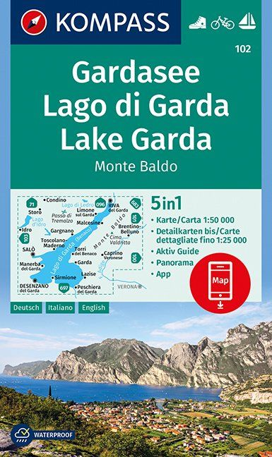 KP-102 Gardameer e.o. | Kompass wandelkaart 9783990443965  Kompass Wandelkaarten Kompass Italië  Wandelkaarten Gardameer