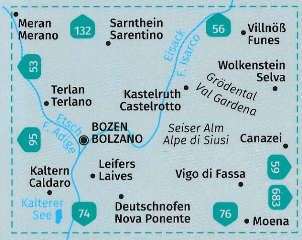 KP-54 Bozen-Schlern Bolzano-Sciliar 1:50.000   Kompass wandelkaart 9783990447079  Kompass Wandelkaarten Kompass Italië  Wandelkaarten Zuid-Tirol, Dolomieten