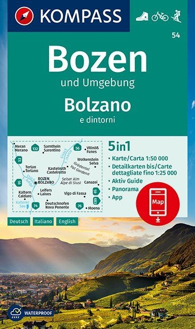 KP-54 Bozen-Schlern Bolzano-Sciliar 1:50.000 | Kompass wandelkaart 9783990447079  Kompass Wandelkaarten Kompass Italië  Wandelkaarten Zuid-Tirol, Dolomieten