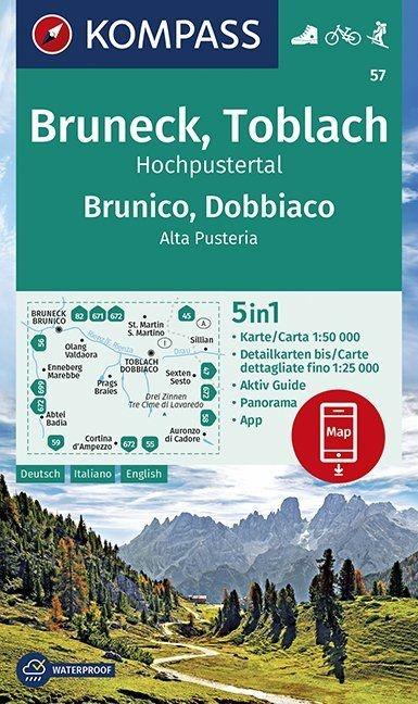 KP-57 Bruneck-Toblach Brunico-Dobbiaco 1:50.000   Kompass wandelkaart 9783990447086  Kompass Wandelkaarten Kompass Italië  Wandelkaarten Zuid-Tirol, Dolomieten