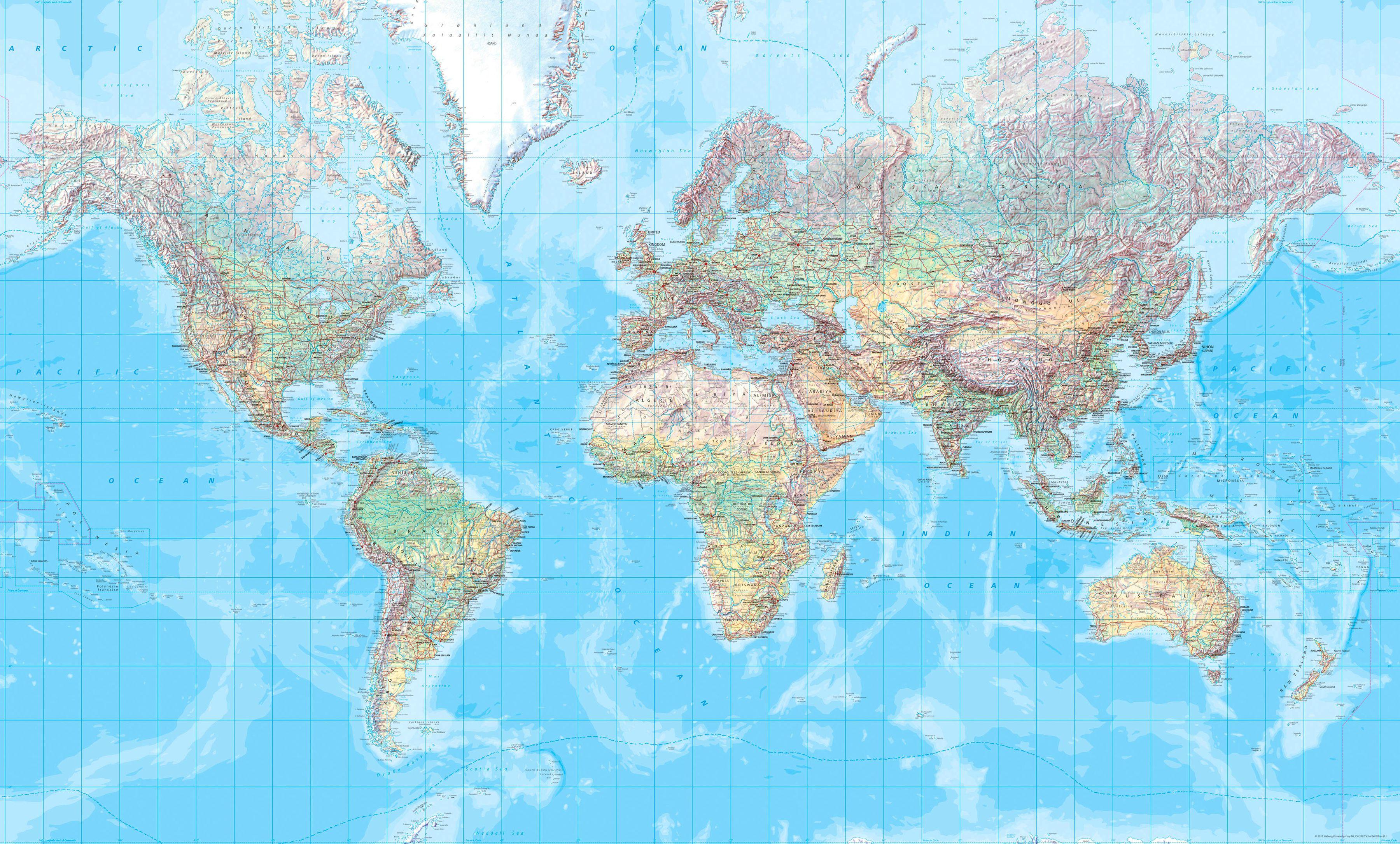 [17] Wereld Natuurkundig 1:23.000.000 geplastificeerd 5425013060028  Kümmerly & Frey   Wandkaarten Wereld als geheel