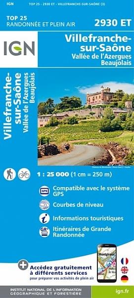 2930ET  Villefranche-sur-Saône | wandelkaart 1:25.000 9782758534990  IGN TOP 25  Wandelkaarten Lyon en omgeving