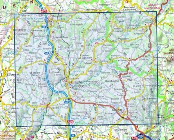 wandelkaart 2133-SB Uzerche, Treignac, Seilhac 1:25.000 9782758542025  IGN IGN 25 Creuse & Corrèze  Wandelkaarten Creuse, Corrèze