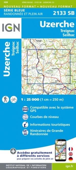 SB-2133SB Uzerche, Treignac, Seilhac | wandelkaart 1:25.000 9782758542025  IGN IGN 25 Creuse & Corrèze  Wandelkaarten Creuse, Corrèze