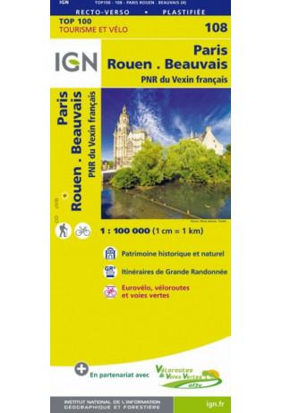 SV-108  Paris, Rouen | omgevingskaart / fietskaart 1:100.000 9782758543589  IGN Série Verte 1:100.000  Fietskaarten, Landkaarten en wegenkaarten Normandië