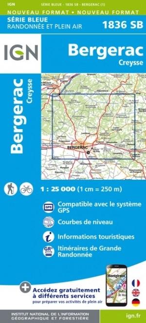 SB-1836SB Bergerac, Creysse | wandelkaart 1:25.000 9782758548188  IGN Serie Bleue (vernieuwd)  Wandelkaarten Dordogne