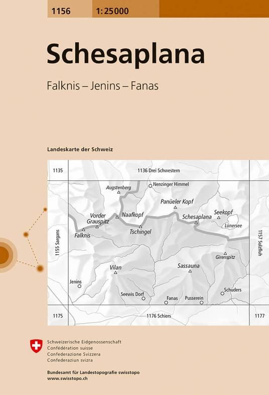 CH-1156  Schesaplana [2016] topografische wandelkaart 9783302011561  Bundesamt / Swisstopo LKS 1:25.000  Wandelkaarten Graubünden, Tessin