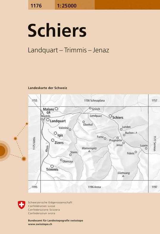 CH-1176  Schiers [2016] topografische wandelkaart 9783302011769  Bundesamt / Swisstopo LKS 1:25.000  Wandelkaarten Graubünden, Tessin
