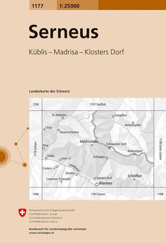 CH-1177  Serneus [2016] topografische wandelkaart 9783302011776  Bundesamt / Swisstopo LKS 1:25.000  Wandelkaarten Graubünden, Tessin
