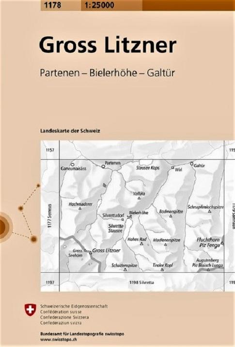 CH-1178 Gross Litzner  [2016] topografische wandelkaart 9783302011783  Bundesamt / Swisstopo LKS 1:25.000  Wandelkaarten Graubünden, Tessin