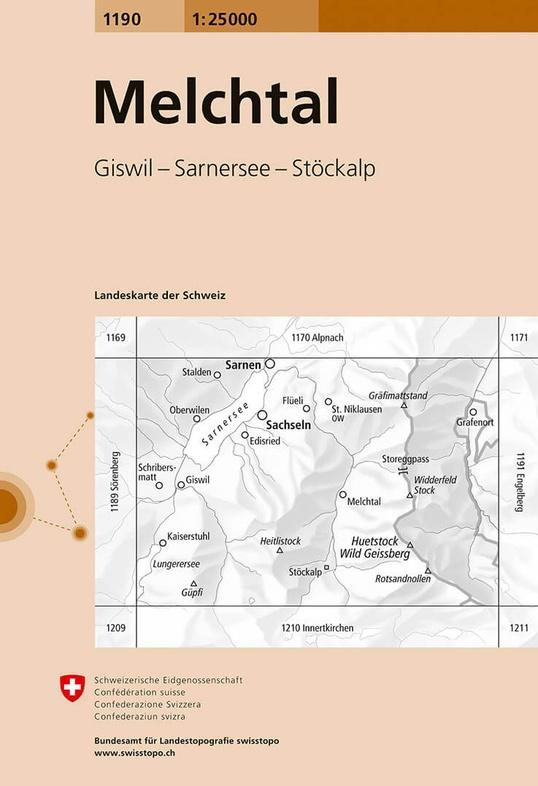 CH-1190  Melchtal [2016] topografische wandelkaart 9783302011905  Bundesamt / Swisstopo LKS 1:25.000  Wandelkaarten Noordoost- en Centraal Zwitserland