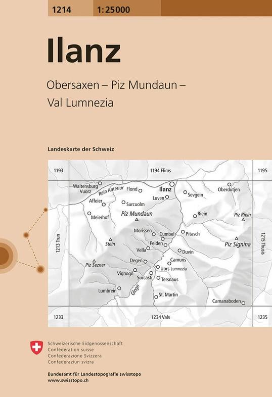 CH-1214  Ilanz [2015] topografische wandelkaart 9783302012148  Bundesamt / Swisstopo LKS 1:25.000  Wandelkaarten Graubünden, Tessin