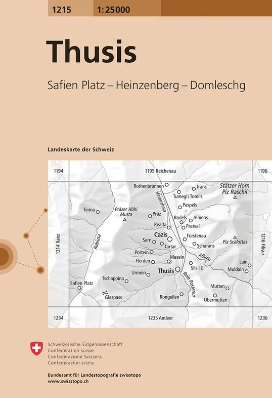 CH-1215  Thusis [2019] topografische wandelkaart 9783302012155  Bundesamt / Swisstopo LKS 1:25.000  Wandelkaarten Graubünden, Tessin