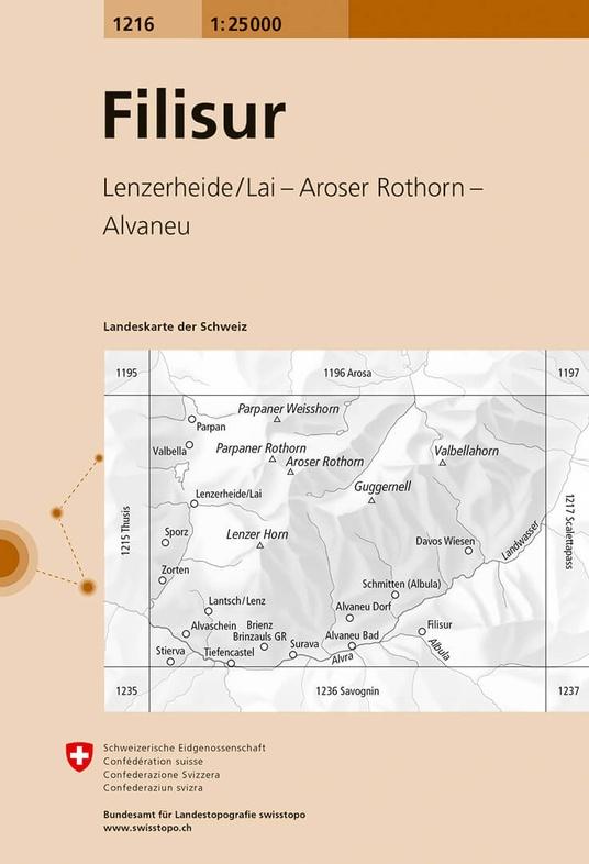 CH-1216  Filisur [2017] topografische wandelkaart 9783302012162  Bundesamt / Swisstopo LKS 1:25.000  Wandelkaarten Graubünden, Tessin